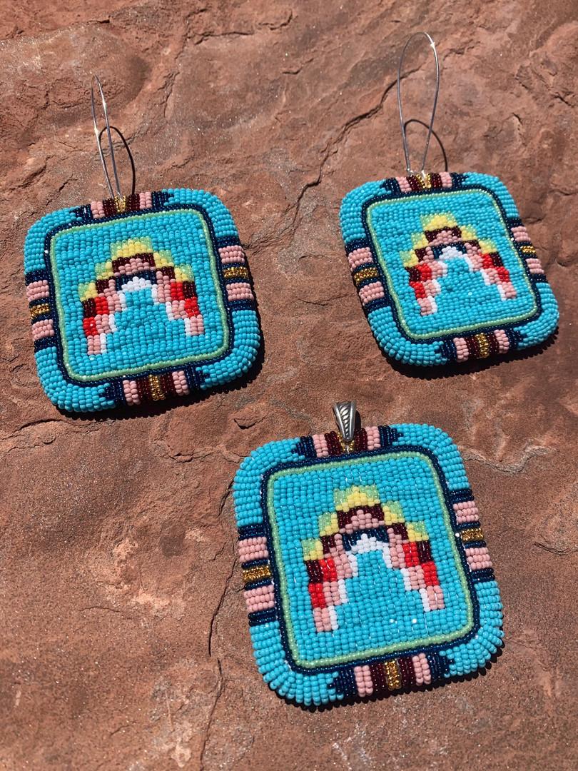 Lakota styled Pendant & Earrings