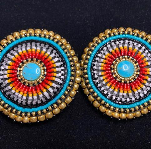 Fire Color Beaded Earrings