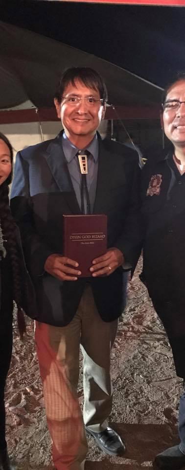 Callie, Navajo Nation President Jonathan Nez, and Father Ellson Bennett