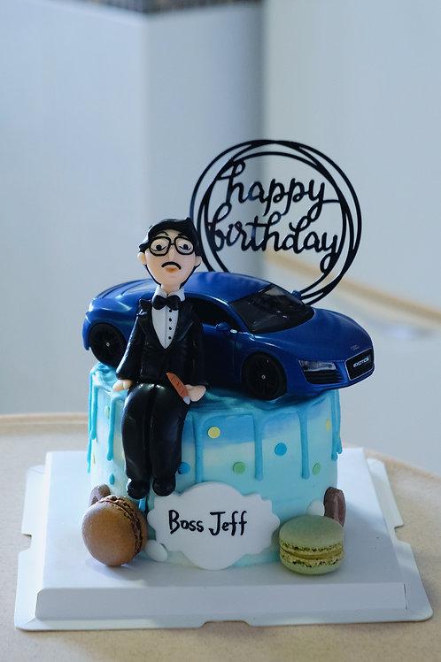 Man and Car Cream Cake