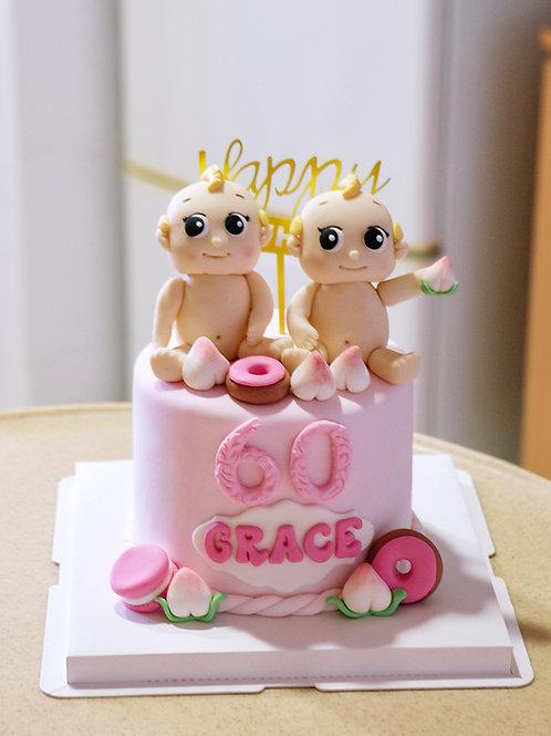 Babies Pink Fondant Cake