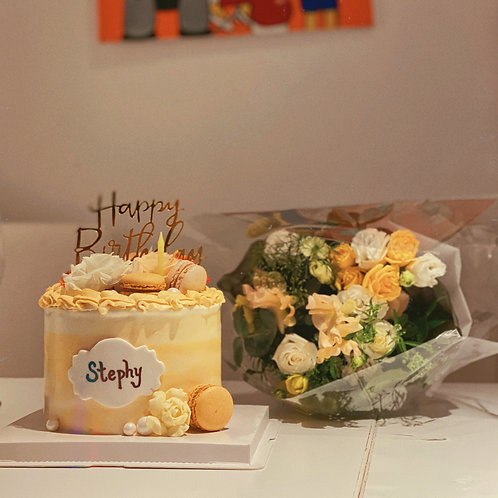 Yellow Floral Cream Cake