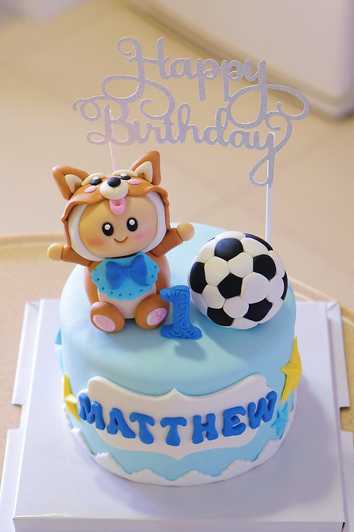Soccer and the baby Fondant Cake
