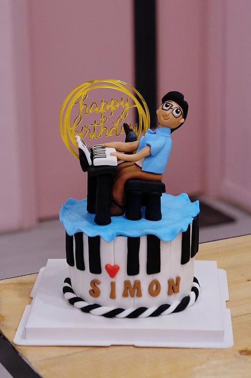Piano Boy Fondant Cake