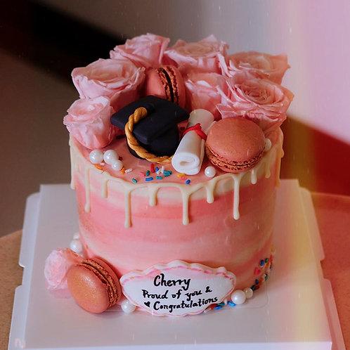 Pink Graduation Cake