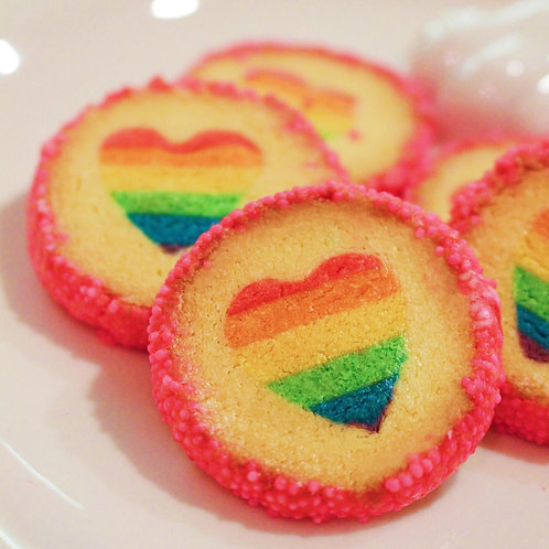 Rainbow Hearted Cookies