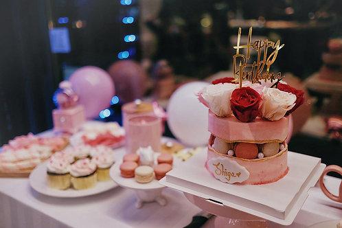 Macaroon Pink False Line Cake