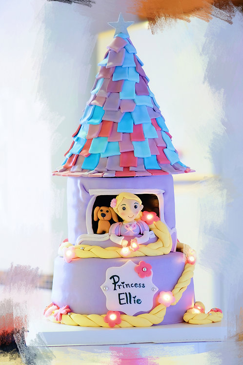 The Rapunzel Tower - Fondant Cake with lights