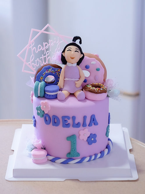 Girl with Donuts Cake