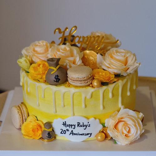 Yellow Cream Floral Cake