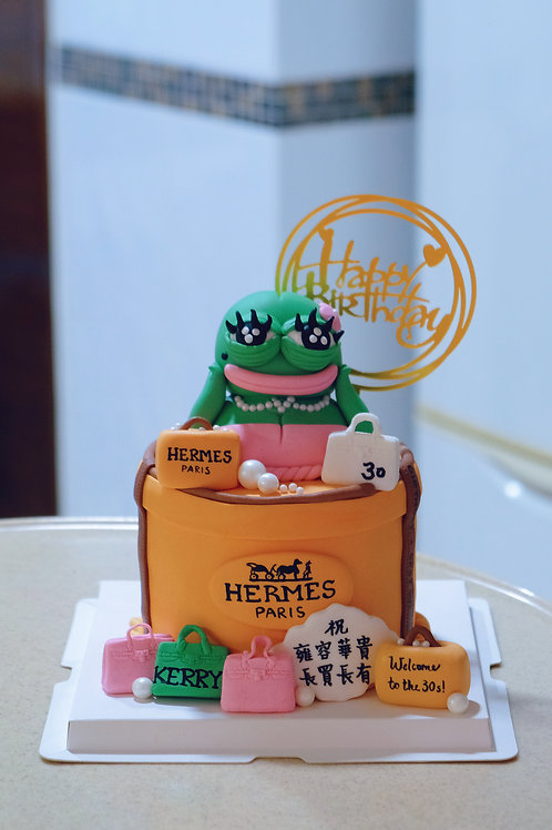 Pepe with Hermes Giftbox Cake