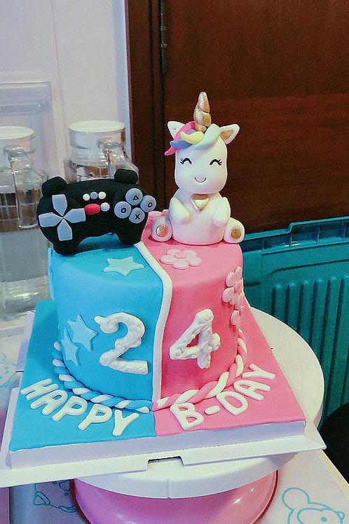 Gameboy VS Unicorn Fondant Cake