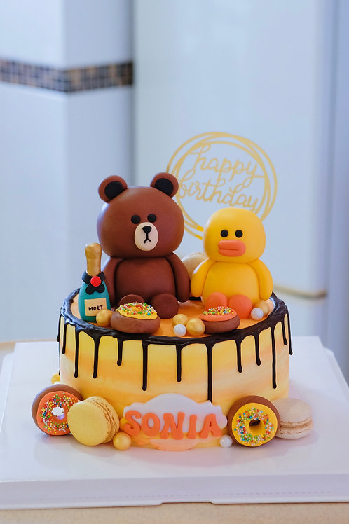 Line Cartoons Cream Cake