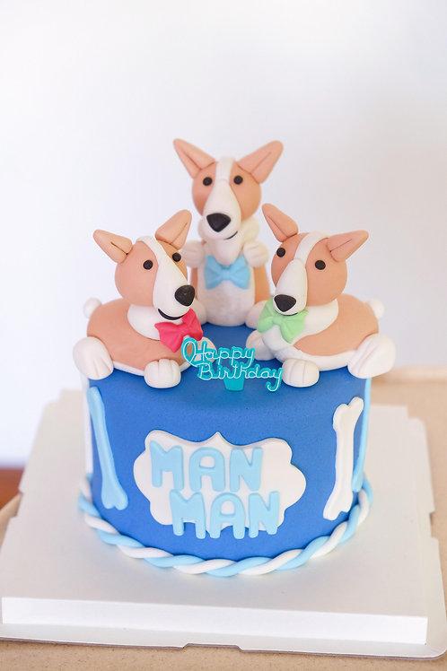 The Corgis Fondant Cake