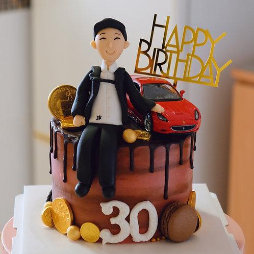 Birthday boy and car theme Cake