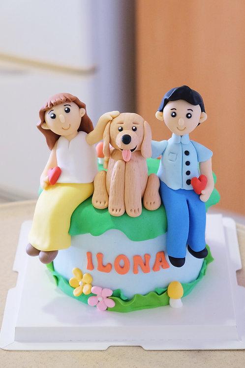 Fam & Puppy  Fondant Cake