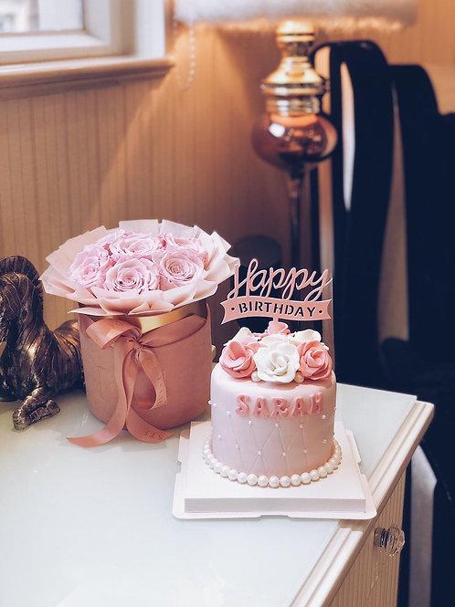 Pink Fondant Rose Cake