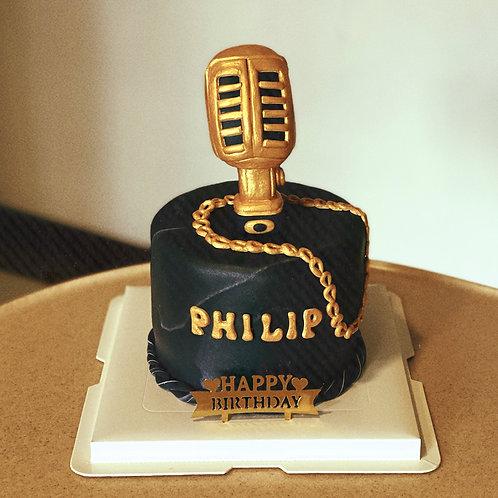 Gold Microphone Cake