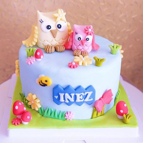 The Owl Twins - Fondant Cake