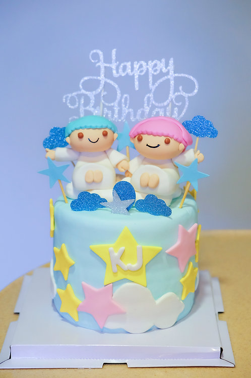 The Little Twin Stars - Fondant Cake