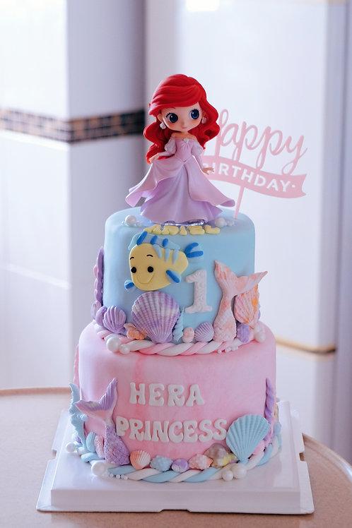 Ariel Princess Fondant Cake
