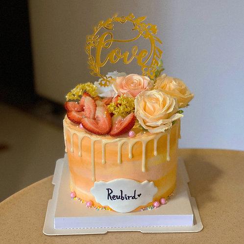 Orange Floral Cream Cake