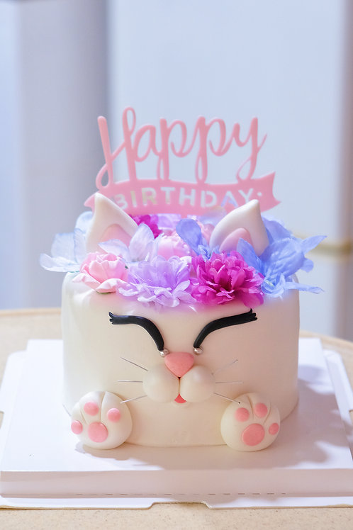 White Floral Cat Fondant Cake
