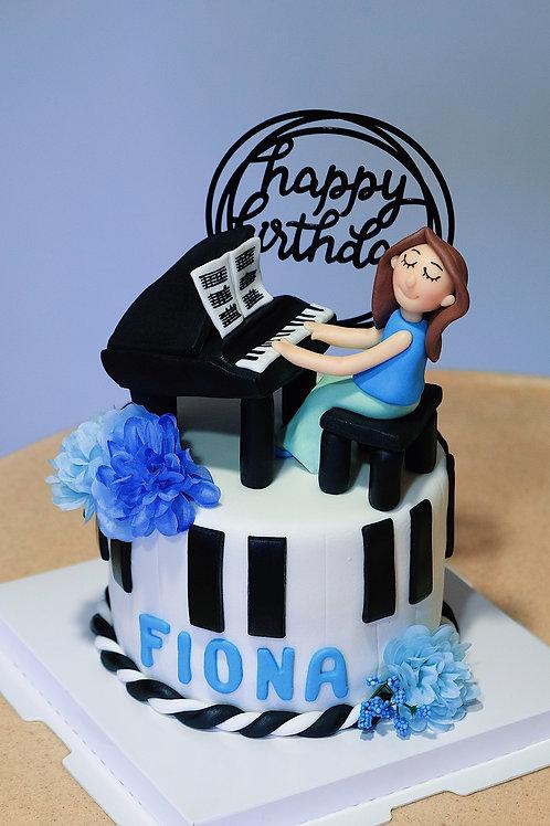 Piano Lady Fondant Cake