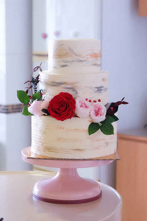 Wedding 2 Tiers Floral Cake