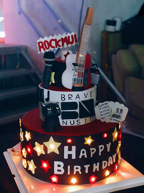 Rock and Roll Forever - Fondant Cake with lights