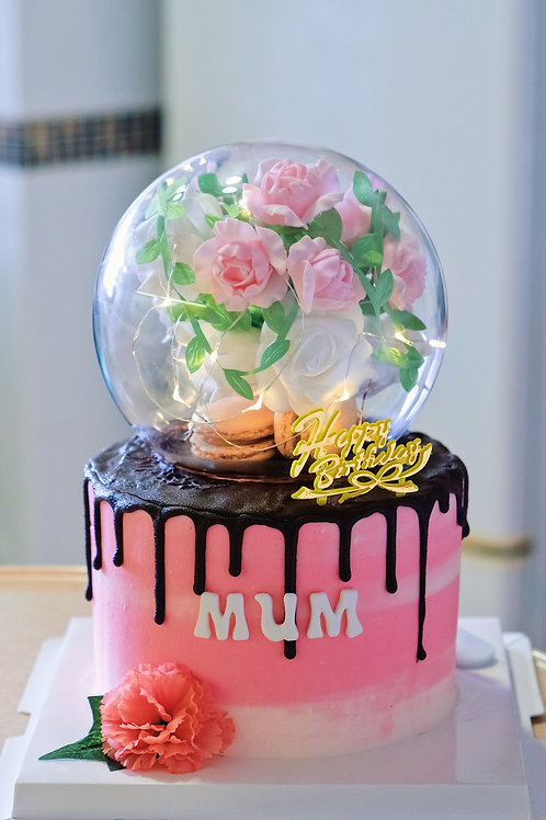Pink Floral Globe Cake