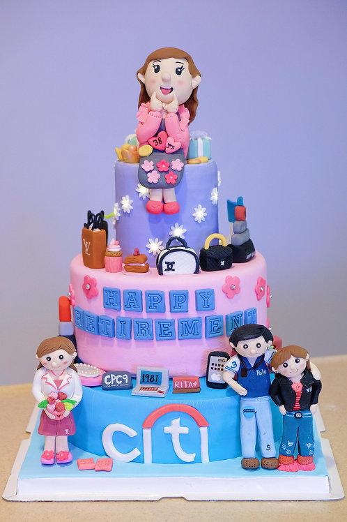 Retirement Cake - Fondant Cake with light