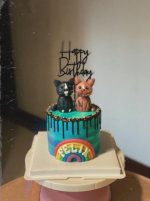 Twin Kitties Cake