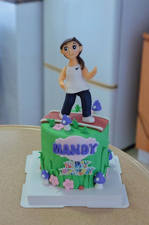 Running Lady Fondant Cake