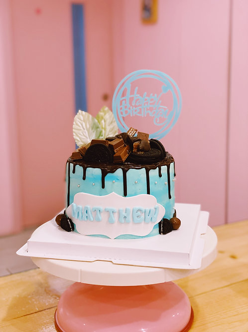 Blue Cream Chocolate Cake
