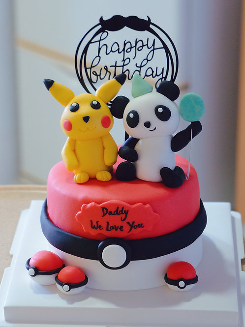 Pokemon and Panda Cake