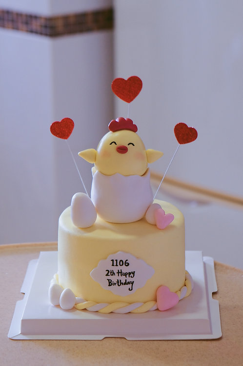 Little Chicken Fondant Cake