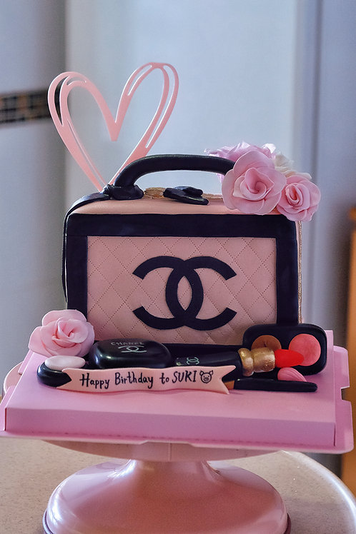 Chanel Pink Makeup Bag Cake