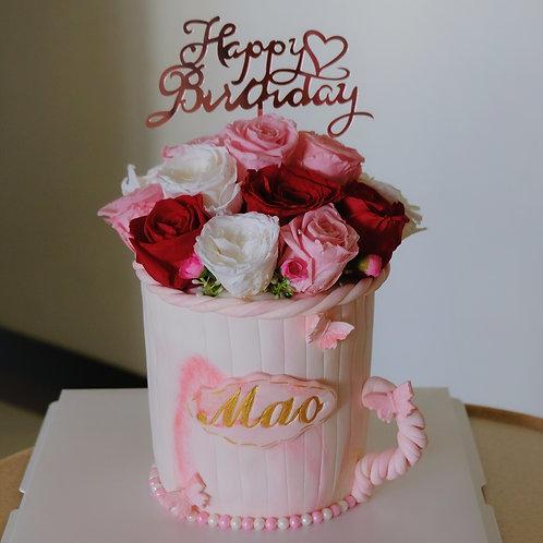 Floral Bucket Fondant Cake