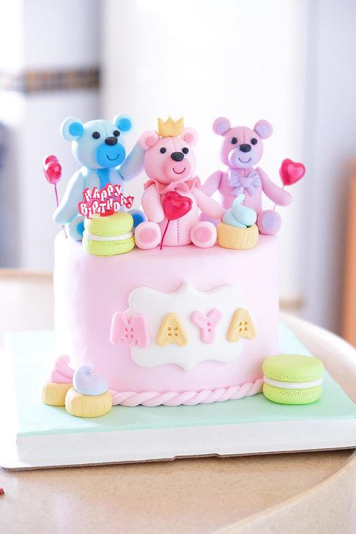 Three Little Bears - Fondant Cake