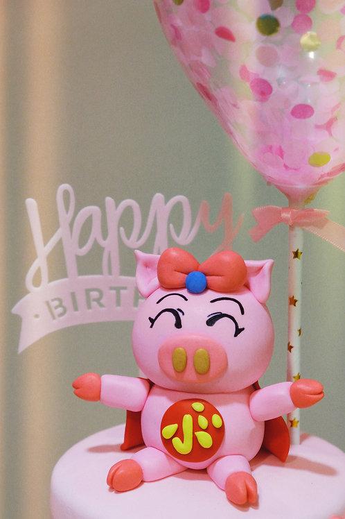 飛天豬翻糖蛋糕