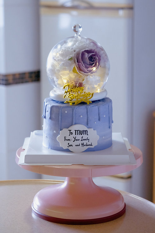 Purple Floral Globe Cream Cake