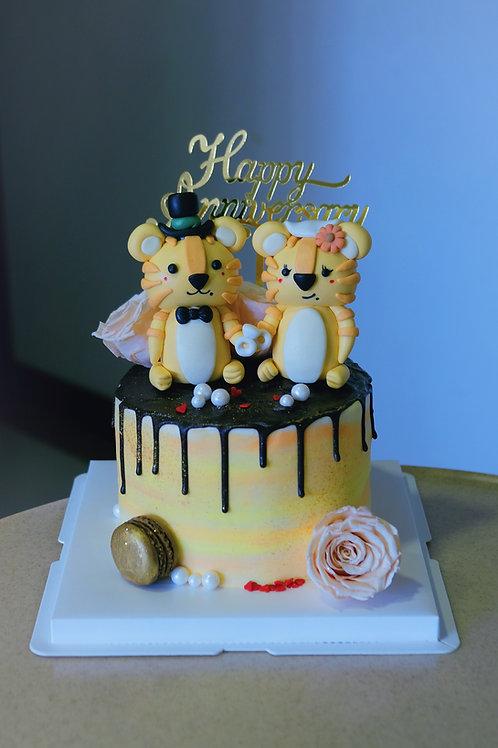 Wedding Tigers Cream Cake