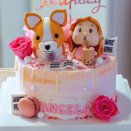 Bubble Tea Girl and Corgi Fondant Cake