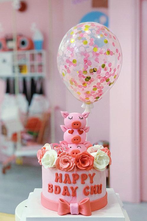Three Little Piggies Fondant Cake