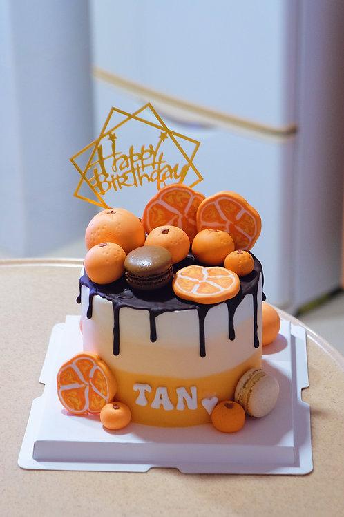Orange themed Cream Cake
