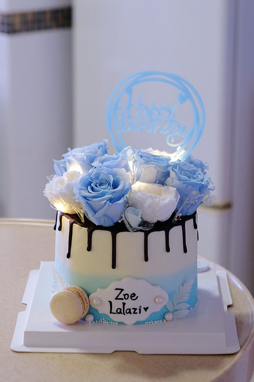 Blue Floral Cake with Lights