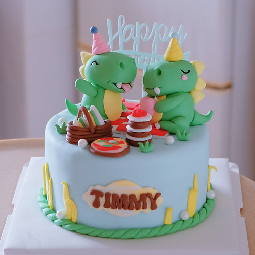 Twins Dinosaurs Fondant Cake
