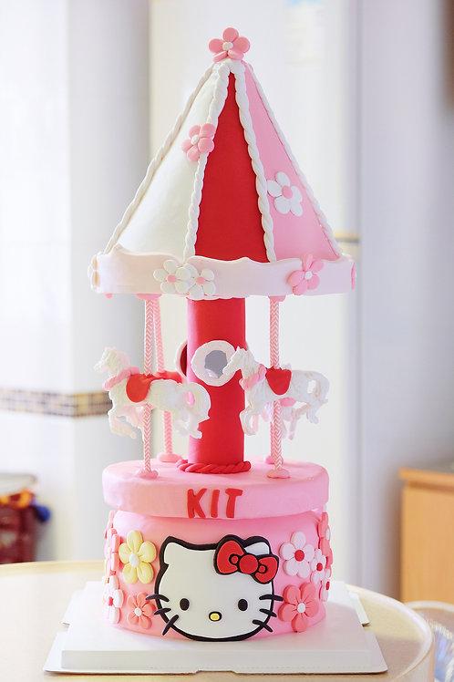 Hello Kitty Carousel Cake - Fondant Cake