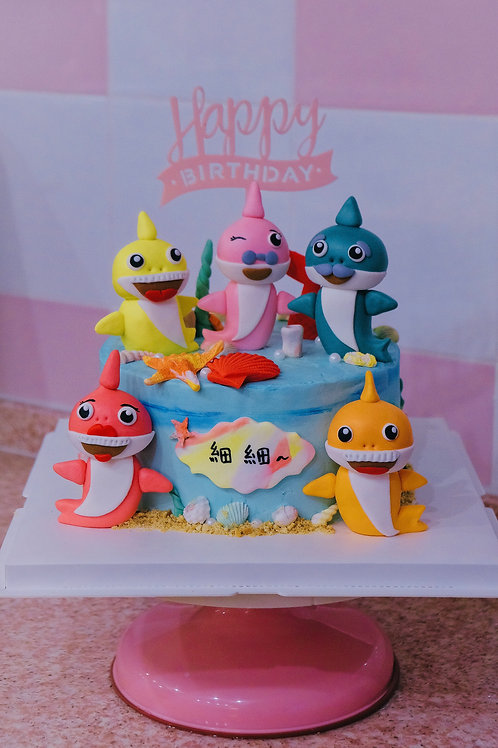 Baby Sharks Fondant Cake